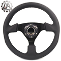 "LA racing-14"" (350mm) arco Steering Wheel really Leather black line Steering Wheel Flat arco Racing Steering Wheel"