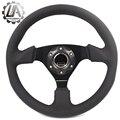 """LA racing-14 """"(350mm) arco Volante realmente line Volante Plana arco de Cuero negro Racing Volante rueda"""