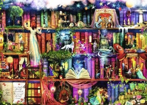 The big treasure shelves Needlework,embroidery,DIY Art DMC Cross stitch kits,Pattern bookshelf Cross Stitching Set home decor-in Package from Home & Garden    1