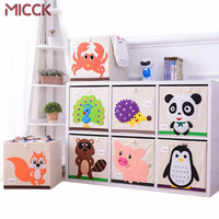 MICCK Embroidery Storage Box Cartoon Animal Folding Large Laundry Basket Sundries Children Clothes Toys Book Storage