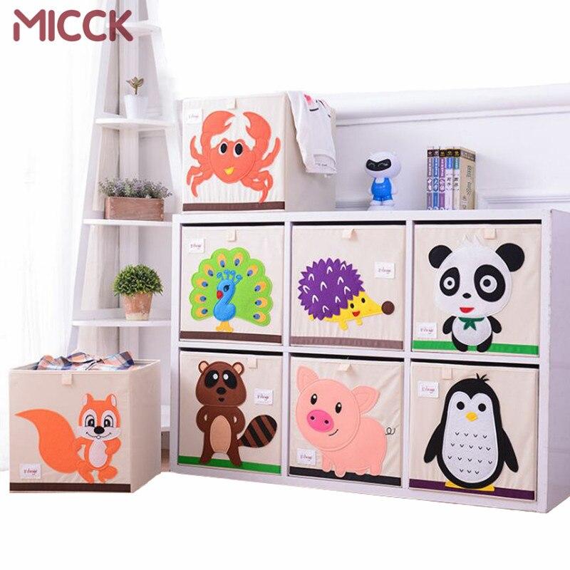 MICCK bordado caja de almacenamiento Animal de dibujos animados plegable gran cesta de lavandería ropa de niños juguetes organizador de almacenamiento de libros