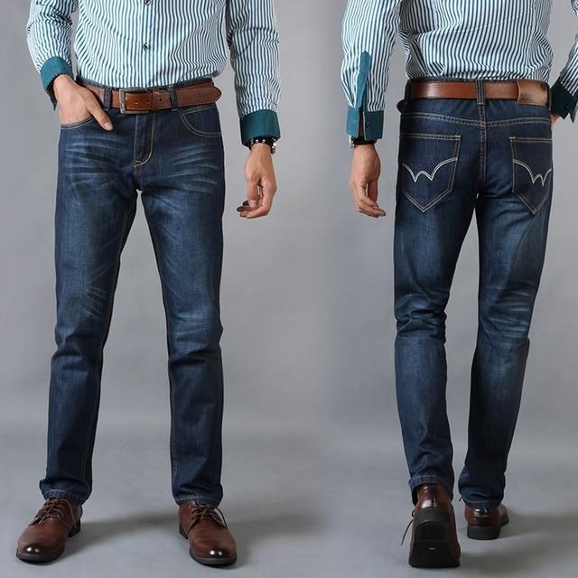 56e5bc4e6fa43 Pantalones Vaqueros de los hombres 2016 de La Venta Caliente Mens Classic  Causal Jean Recto Homme