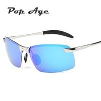 Pop Age Luxury Half Frame Men Sunglasses High quality Driving Sun Glasses Polarized Mirror Eyeglasses Lentes de sol Goggle 400UV