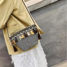 Bohemian Fashion Beach Straw Bag Small Women Woven Tassel Summer Bucket Sling Shoulder Hand Bags Crossbody Messenger Travel Bag