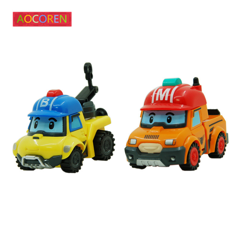 Aocoren 2pcs lot Robocar Poli MARK BUCKY Korea Transformation Toys Robot Car Anime Action Figure Kids