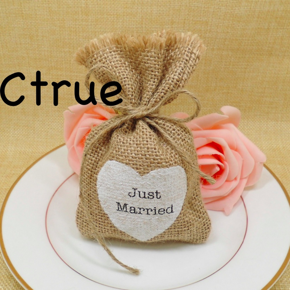 Wedding Favour Gift Bags: 24PC Just Married Candy Gift Bag Burlap Jute Hessian