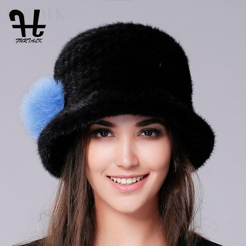 ffea17b747b FURTALK Luxury Knitted Mink Fur Hat Women 2019 Fedora Bucket Hat Winter  Real Fur Hats for Women Female russian fur cap-in Berets from Apparel  Accessories on ...