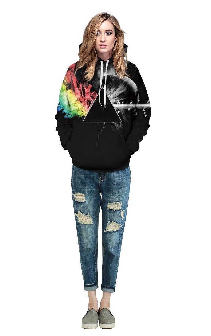 Echoine Plus Size Hooded Sweatshirt Triangle Moon Galaxy Digital Printed Hoody 2017 Women Men Sweatshirt Autumn Loose Hoodies