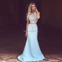2019 New Elegant Mermaid Lace Evening Dress 2 Pieces Baby Blue Girls Party Dresses Vestidos de Festa Stain Tank Prom Gown