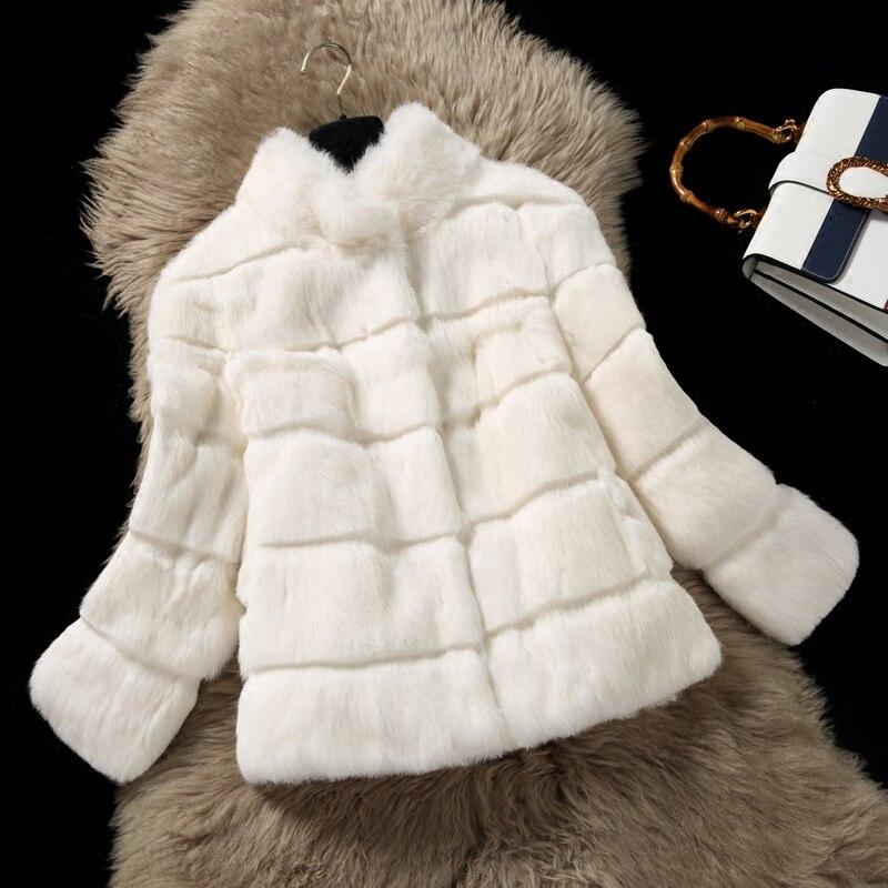 Vague Cut Pied de Col Naturel De Fourrure De Lapin Vestes Femmes 9/10 manches En Cuir Véritable Manteaux De Fourrure de Survêtement Plus La Taille 2018 Automne hiver