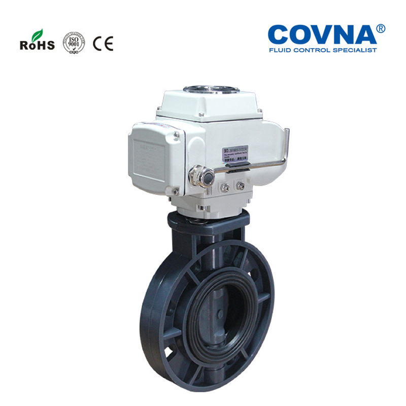 DN150 Plastic Electric Butterfly Valve On Off Type 6'' PVC