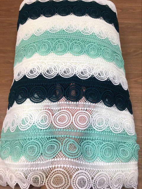 White and green African lace fabrics 5yard  guipure lace fabric New high quality african cord lace fabric for wedding dresses