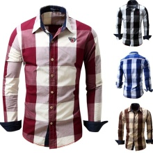 ZOGAA 2018 new Spring and Summer New Mens Casual Cotton Plus Size Plaid Printing Long Sleeve Shirts 4 color sizes S-XXL