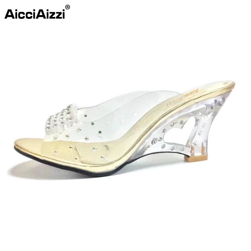 AicciAizzi Size 30-43 New Summer Sandals Women Peep Open Toe Wedge Sandals Slip On Sweet Jelly Shoes Woman Summer Shoes For Lady 2018 new woman summer sandals open toe