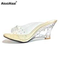 AicciAizzi Size 30 43 New Summer Sandals Women Peep Open Toe Wedge Sandals Slip On Sweet