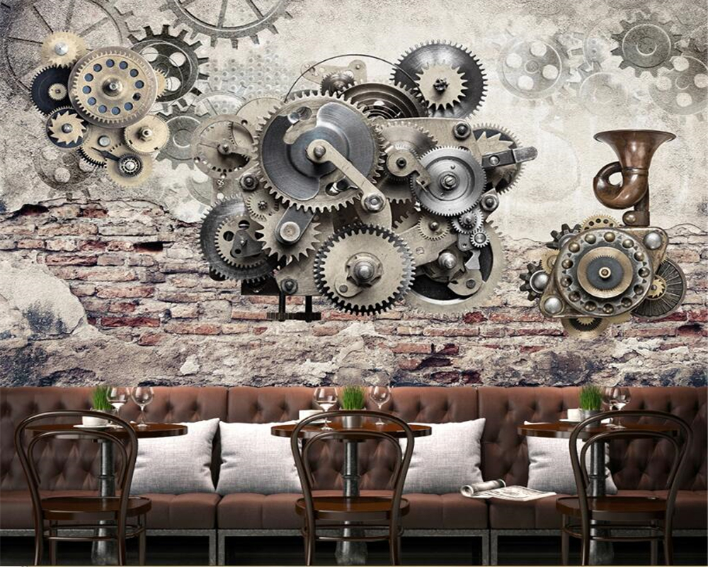 Us 885 41 Offbeibehang Cafe Bar Mural Theme Restaurant Background Wall Wallpaper Mechanical Gear Retro Photo Wall Wallpaper Papel De Parede In
