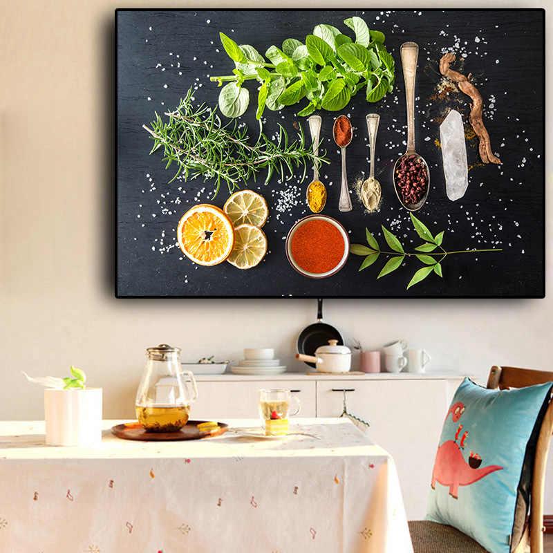 Sebze Meyve Tahil Baharat Mutfak Tuval Bir Boyama Cuadros
