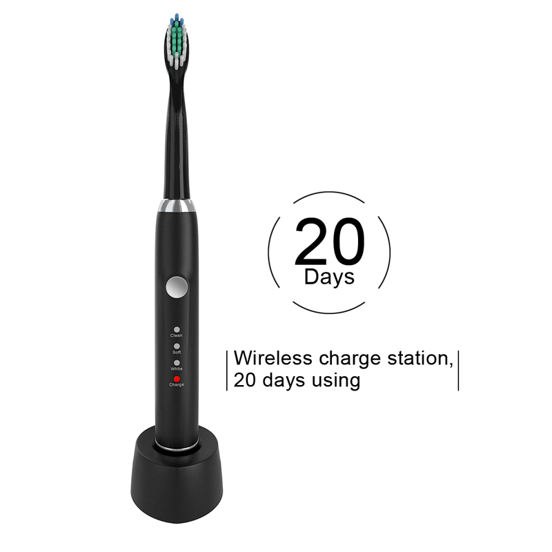 Electric Toothbrush With Wireless Charge Station 20 Days Use Long Battery Life Acoustic Wave IPX7 Waterproof image