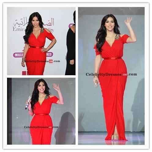 2017 Kim Kardashian Celebrity Dresses Sheath V-neck Cap Sleeves Chiffon Floor Length Slit Long Red Carpet Dresses