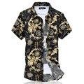 Camisas casuales 2015 hombres camisa delgado social ropa de algodón de manga corta camisa de verano playa floral camisa para hombre vestido de camisa M ~ 6XL