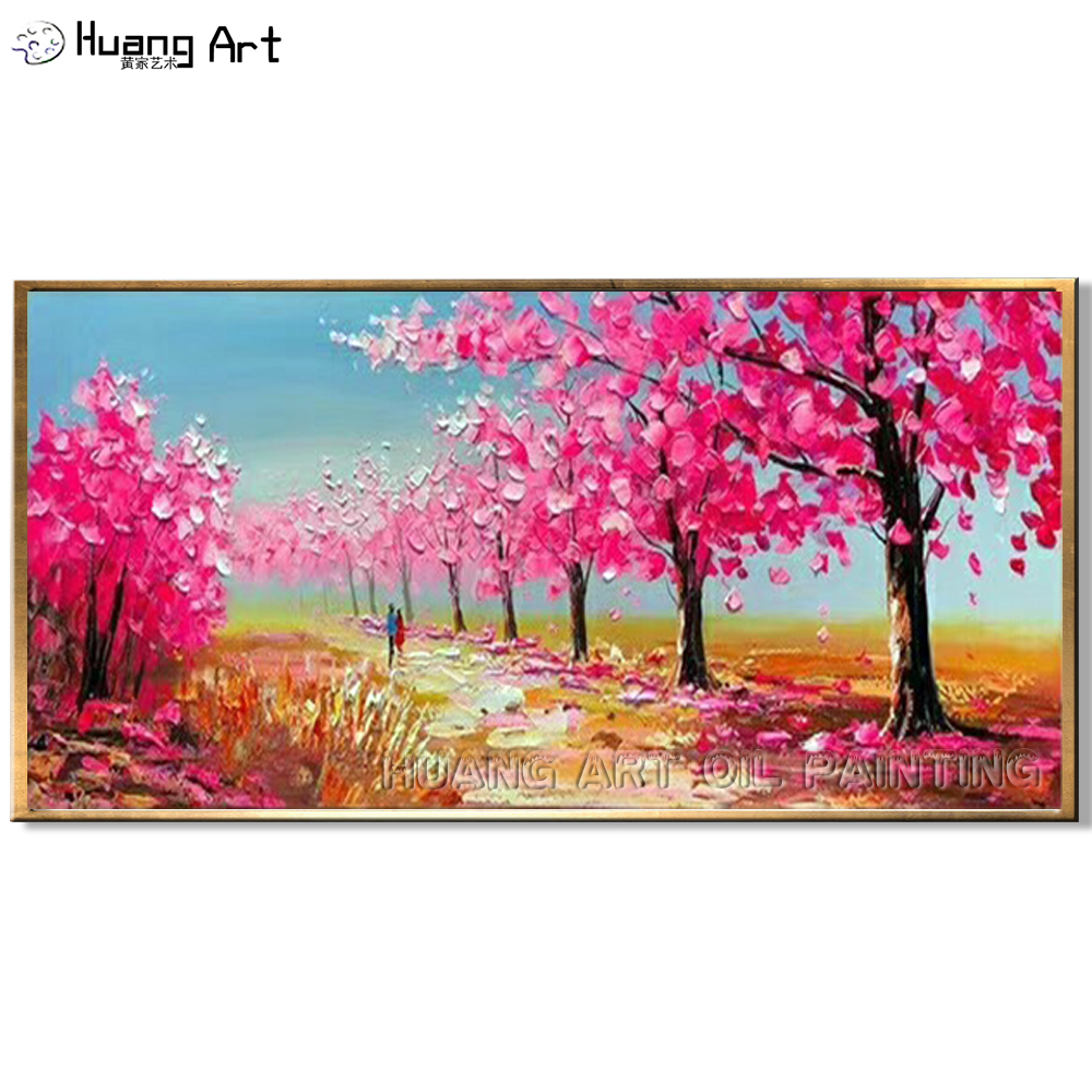 New Arrival Beautiful Pink Tree Painting Hand-painted High Quality Landscape Oil for Room Decor