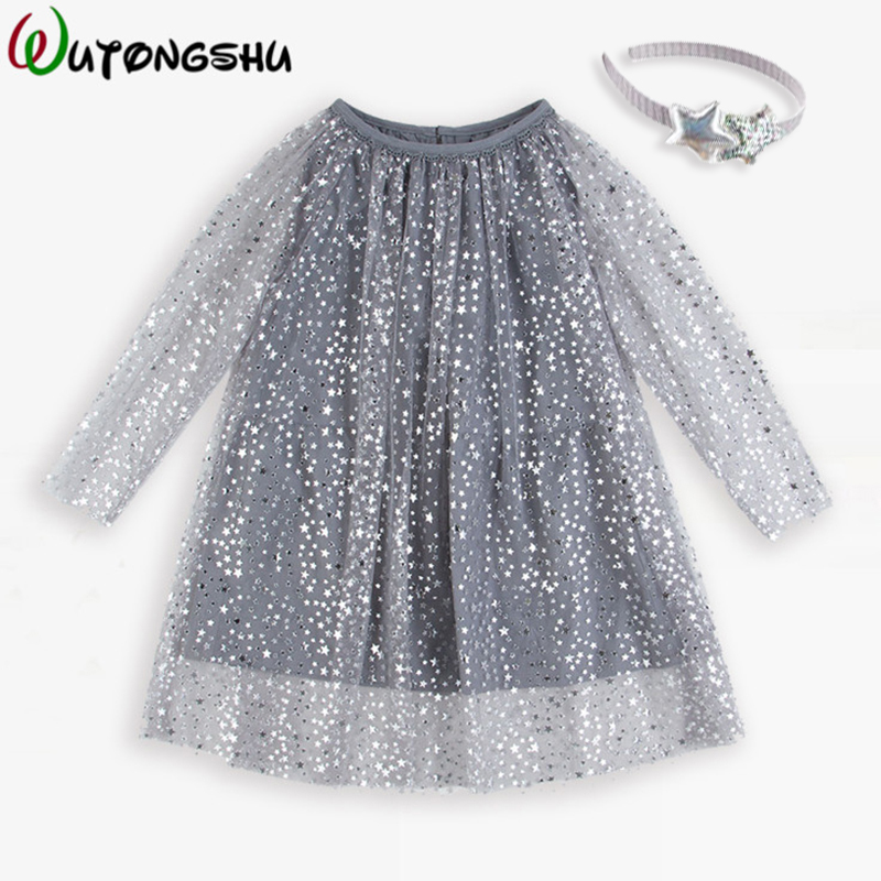 Princess Costume Shining Baby Birthday Dress With Sleeves Girls Tunic Dress Christmas Kids Clothing Robe Fille Children Dresses недорого
