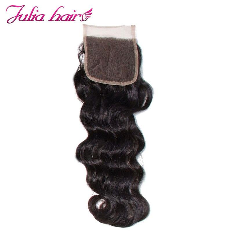 アリジュリア人毛ブラジルの自然な波の髪レースクロージャー無料パート自然な色 10 20 インチのヘアエクステンションの Remy  グループ上の ヘアエクステンション & ウィッグ からの クロージャー の中 3