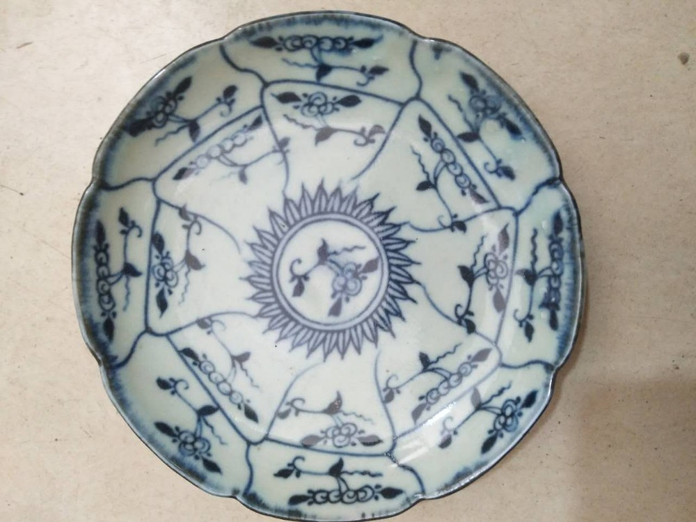 Blue and white pattern plate antique retro Ganoderma fruit dish teahouse Antique Porcelain Hand Painted