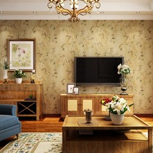 American country retro nostalgic crocheted non-woven thicken wallpaper living room bedroom dining TV background