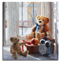 Teddy bear Diamond Painting Cartoon 3d diy embroidery pattern Clock Kits for embroidery with rhinestone Needlework Drill LXC243