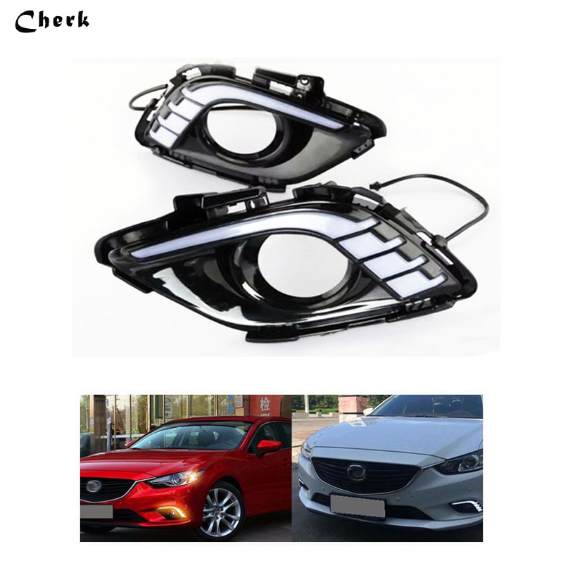 2pcs Day Light For Mazda 6 Atenza 2013 2014 2015 LED DRL Daytime Running Light With Yellow Turning Signal Waterproof Fog Lamp led 12v turning signal light drl daytime running light for mazda 6 2013 2014 waterproof abs fog lamp decoration