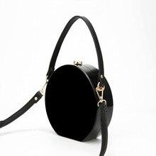 2017 العلامة التجارية الجديدة الاكريليك حقيبة صغيرة مستديرة حقيبة ساعي للفتيات عادية الأسود عبر الجسم حقيبة كتف المرأة الصغيرة الإناث سستة حقيبة