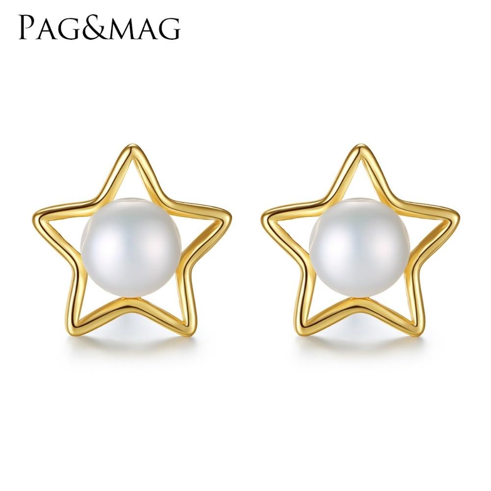PAG & MAG Merek 7-7.5mm Mutiara Alami Perak Wanita Bintang Anting 925 - Perhiasan bagus