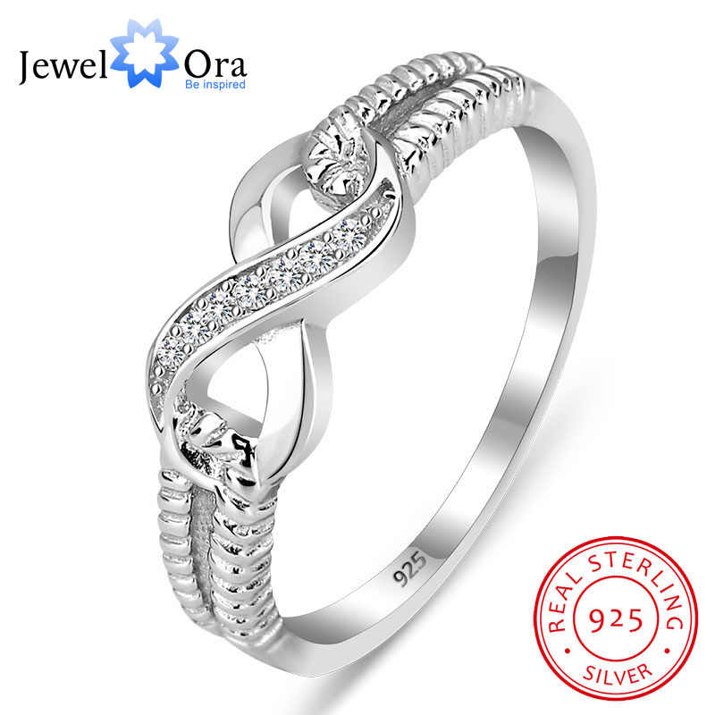 925 Sterling Silver Infinity Rings for Women Endless Love Symbol Wedding Ring Fashion Jewelry Gift for Mother(JewelOra RI101804)