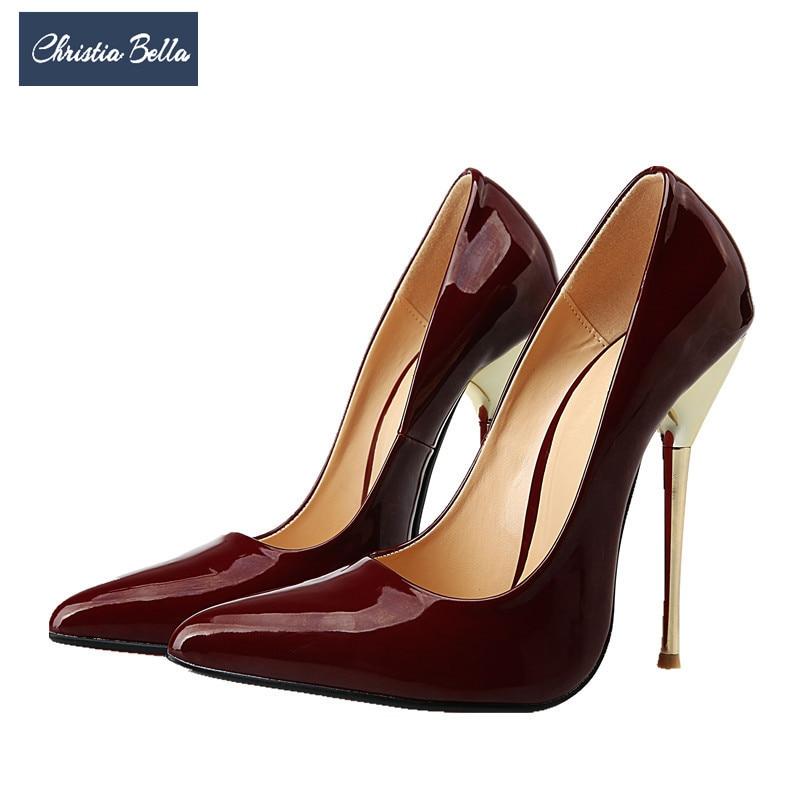 De Tacón Alta vino Cuero rojo Plus Zapatos Bella Sexy Punta Negro Bombas Boda Fiesta Christia Tinto blanco Tamaño Tacones Mujer xSXnwqInR