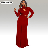 2017 Two Piece Sets Maxi Dress Long Sleeve Black Red Crop Top Floor Length Robe Party