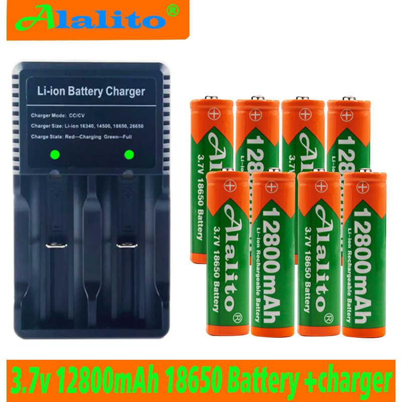 Alalito 18650 バッテリー 3.7V 12800mAh 充電式リチウムイオン電池おもちゃの LED 懐中電灯フラッシュ電源ツール + USB 充電器