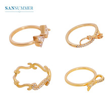 Sansummer 2019 New Hot Fashion Bowknot Geometrical Element Glittering Japan And Korea Style Ring For Women Jewelry 5617