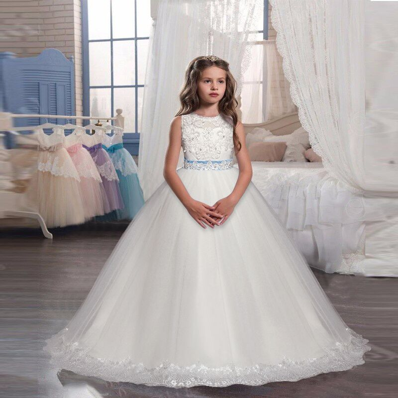Flower     Girl   White   Dress   Christmas Party Kids Clothes Tutu Tulle   Dresses   For   Girl   Frocks 5-14Yrs Children's Wedding Prom Costume