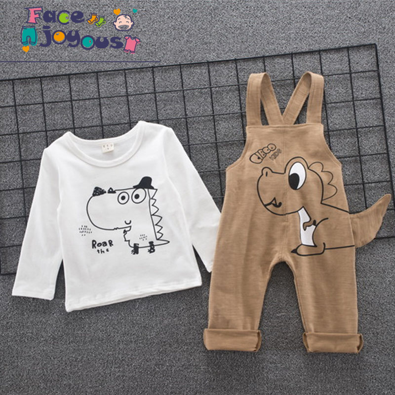 Baby Boys Girls 2pcs Clothing Sets Long Sleeved T-shirt+Cartoon Dinosaur Overalls Clothes Suits 2018 Spring New Toddler Kids Set kids clothing sets for girls clothes suits 2017 spring children casual long sleeve t shirt overalls sport baby clothes set 5 13y