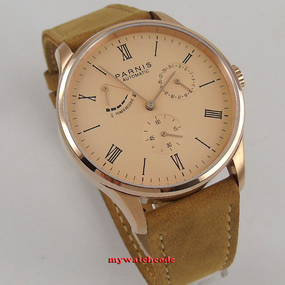 42mm parnis rose pink dial power reserve Sea-gull date automatic mens watch P944B