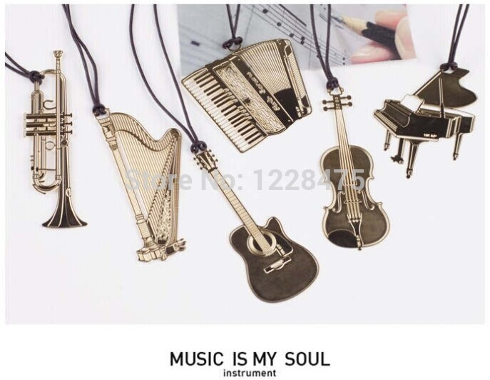 1pcs/lot  New Novelty Musical Instrument Designs Metal Bookmark Bookmarks For Wedding Gift Office And School Supply