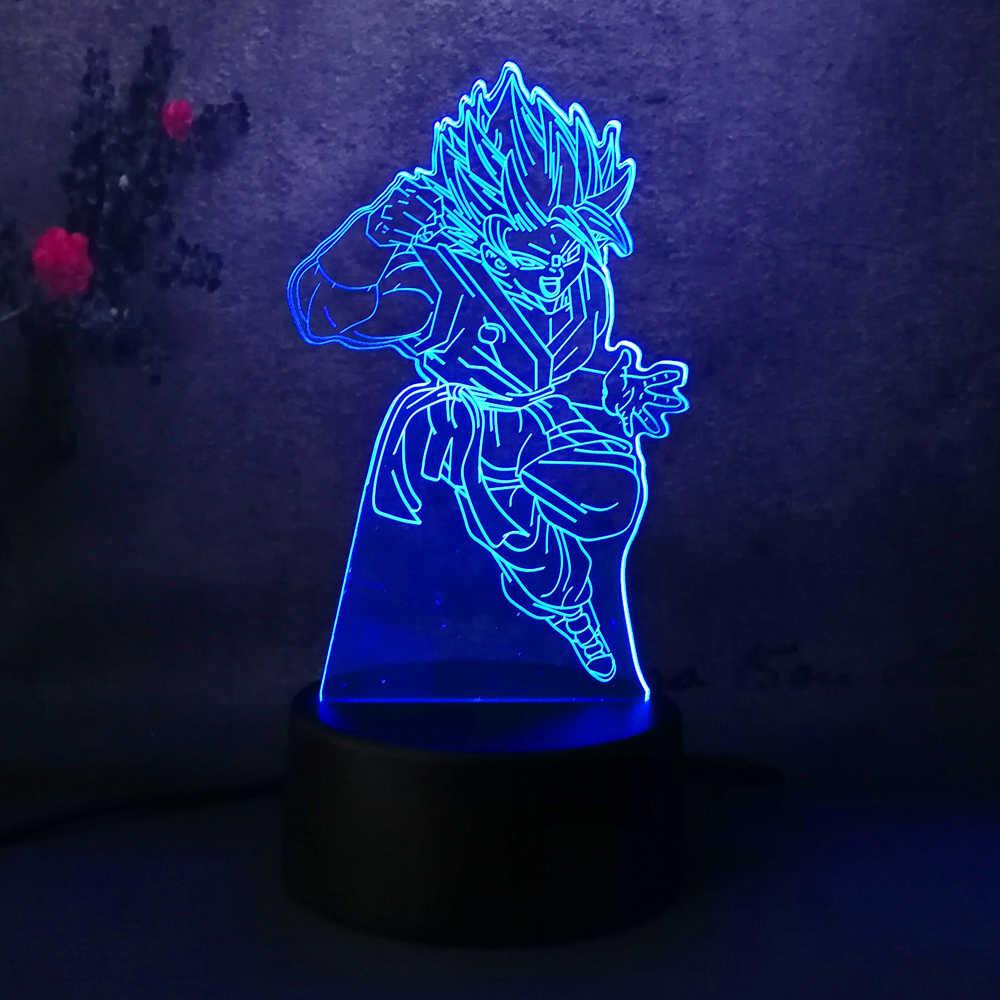 3D led Luz Da Noite Dos Desenhos Animados Sete Dragon Ball Son Goku Super Saiyan Menino Decoração Do Quarto Candeeiro de Mesa de Presente de Aniversário de Natal brinquedo lâmpada