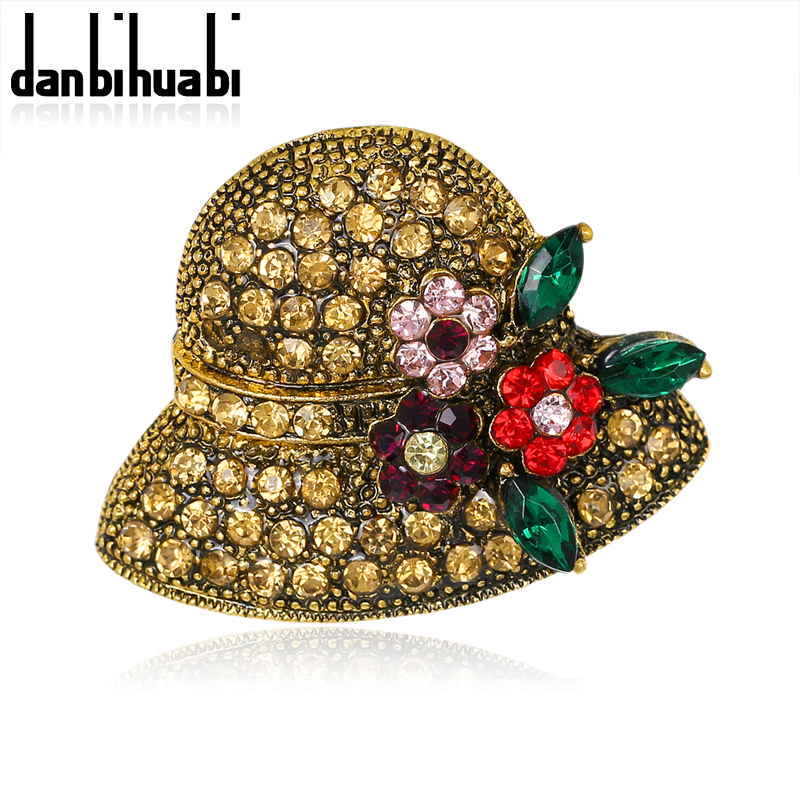 Vintage Gold Color Rhinestones Cute Flower Hat Brooches