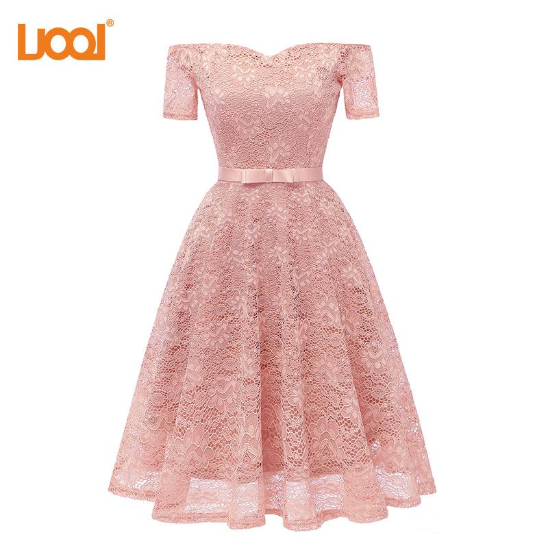 UOOI New Design Princess Short Sleeve Party Dress Long Backless Slim Waist Summer Dress 2018 Elegant Vintage Retro Dresses