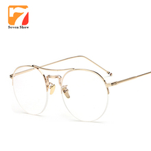 d563f6de3ef3 Alloy Glasses Frame Ultralight Women Rose gold Semi-Rimless Prescription  Eyeglasses Myopia Spectacles Men s Half