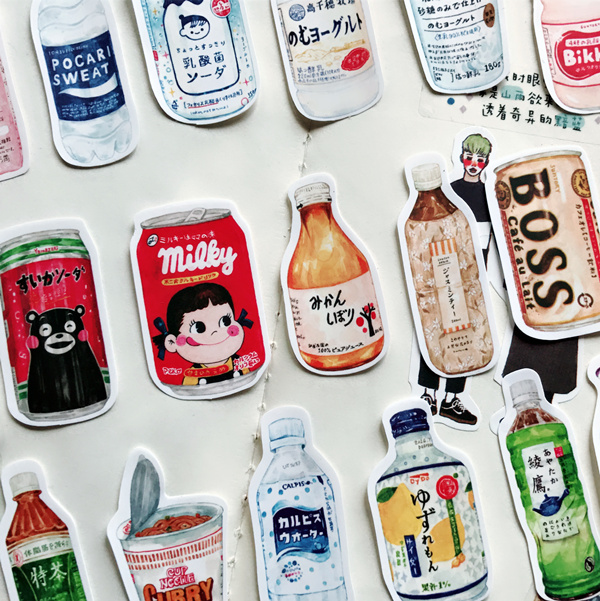 28Pcs/pack Hand-painted Japanese Snacks Drink Food Docoration Planner Diary Sticker DIY Scrapbooking Album Label Sticker Escolar