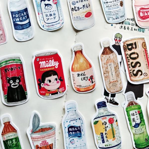 28Pcs/pack Hand-painted Japanese Snacks Drink Food Docoration Planner Diary Sticker DIY Scrapbooking Album Label Sticker Escolar