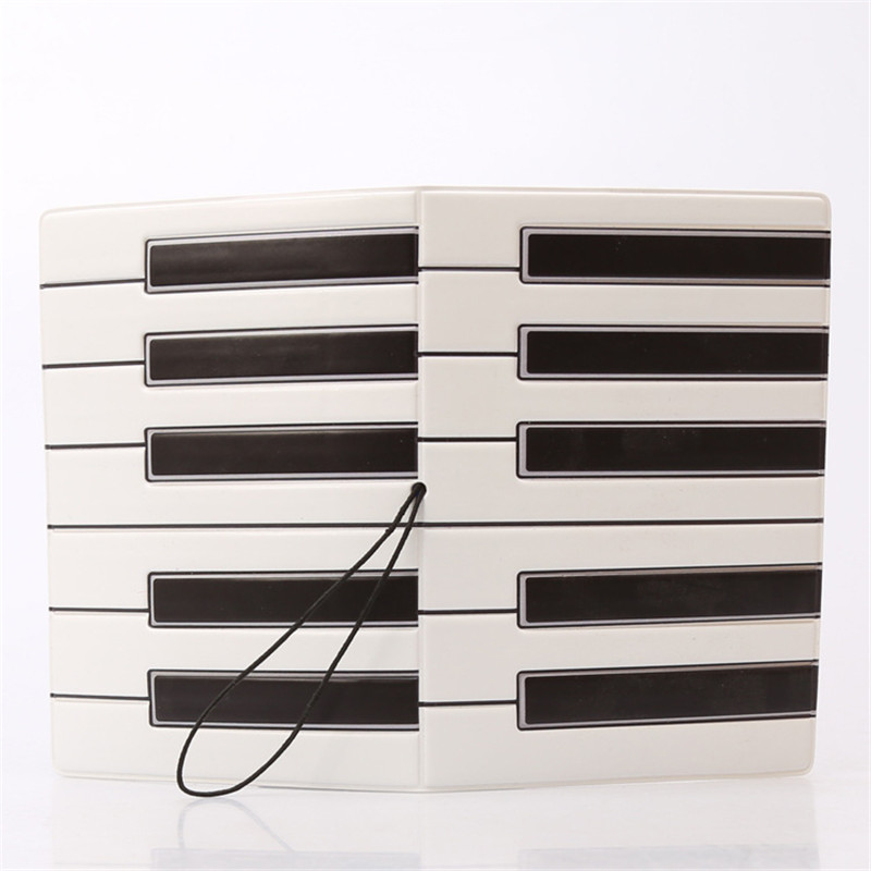 Piano Keys Black White 3D Design Fashion Passport Holder Cover ID Package Travel Accessories Ticket Protective Case Gift