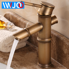 Bathroom Faucet Brass Basin Faucets Retro Luxury Tap Tall Bamboo Hot Cold Water with Two Pipes Kitchen Garden Water Mixer Taps недорого